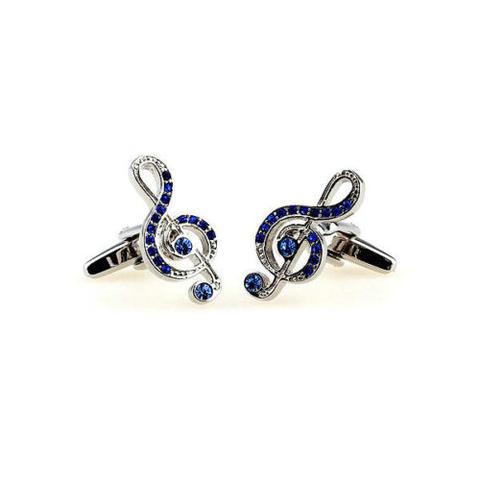 Manžetové gombíky husľový kľúč modré kamienky - 2