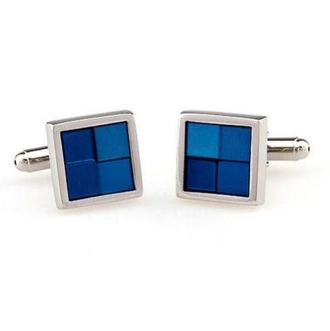 Manžetové gombíky modré štvorčeky - 2