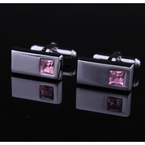 Manžetové gombíky obdĺžnik ružový kameň - 2