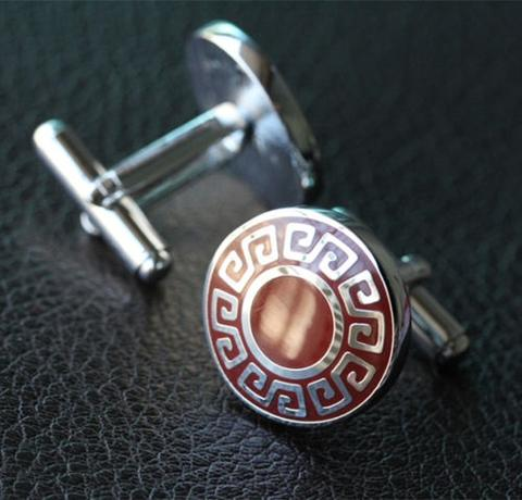 Manžetové gombíky grécky znak okrúhle - 2
