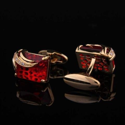 Manžetové gombíky rubínovej farby gold - 2