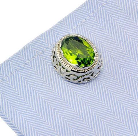 Manžetové gombíky zelený kameň - 2
