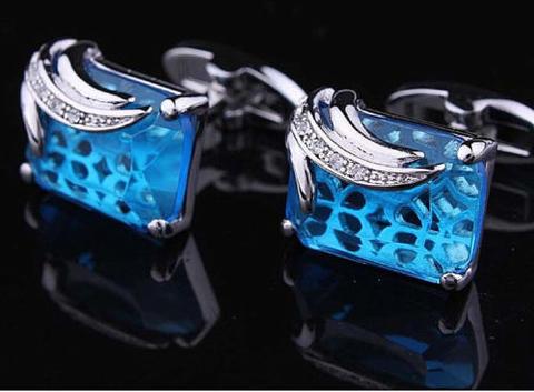 Manžetové gombíky modrý kryštál - 2