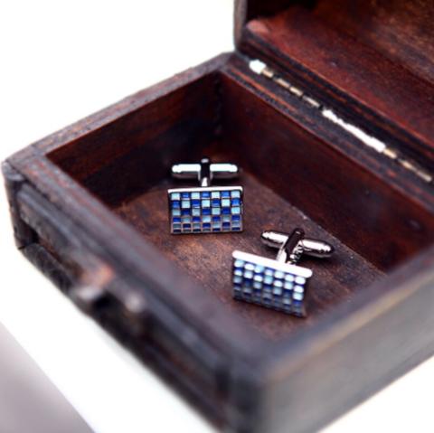 Manžetové gombíky modrá mozaika - 3