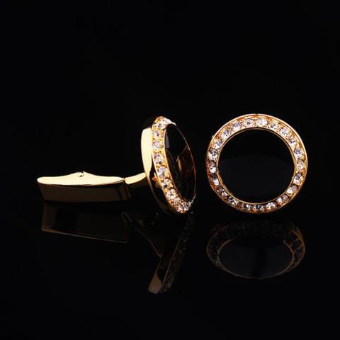 Manžetové gombíky okrúhly čierny kryštál s kamienkami - 3