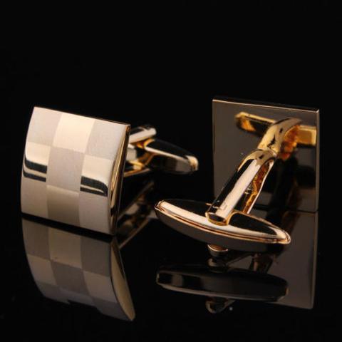 Manžetové gombíky šachovnica gold - 3