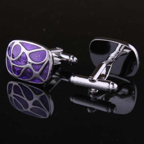 Manžetové gombíky fialová mozaika - 3
