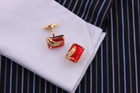 Manžetové gombíky rubínovej farby gold - 3