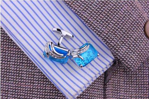 Manžetové gombíky modrý kryštál - 3