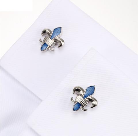 Manžetové gombíky leptón Blue Fleur De Lis - 4