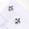 Manžetové gombíky leptón Blue Fleur De Lis - 4/4