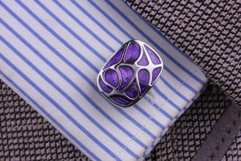 Manžetové gombíky fialová mozaika - 4