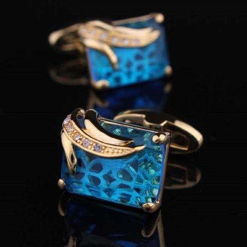 Manžetové gombíky svetlo modrý kryštál - 4