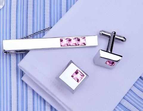 Oceľové manžetové gombíky s kravatovou sponou Arkansas - 5