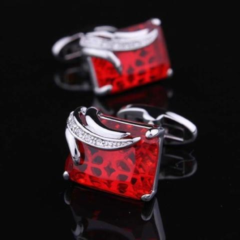 Manžetové gombíky rubínovej farby - 6